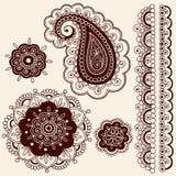 Flores de Mehndi de la alheña y vector de Paisley ilustración del vector