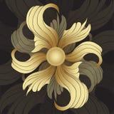 Flores de oro abstractas Brotes de oro, pétalos encrespados en fondo negro Ornamento de la joya Imagenes de archivo