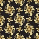 Flores de oro abstractas, modelo inconsútil Brotes de oro, pétalos encrespados en fondo negro Ornamento de la joya Diseño rico, l Imagen de archivo libre de regalías
