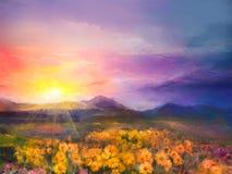 Flores de oro amarillas de la margarita de la pintura al óleo en campos Aguamiel de la puesta del sol