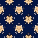 Flores de oro en fondo azul Modelo inconsútil ornamental Fotos de archivo libres de regalías