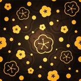 Flores de oro en fondo oscuro Modelo inconsútil Imagenes de archivo