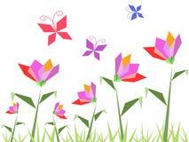 Flores de papel y mariposa Imagen de archivo