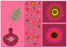 Flores de pintura com folhas Imagem de Stock