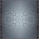Flores de plata, diseño de moda de la mandala de la moda del vintage del fondo decorativo brillante floral del papel pintado stock de ilustración