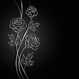 Flores de prata com sombra no fundo escuro Imagens de Stock Royalty Free
