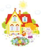 Flores de riego de la muchacha Imagen de archivo libre de regalías