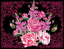 Flores de Rose en marco encrespado púrpura stock de ilustración