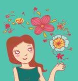 Flores de sorriso da mulher e da mágica Fotos de Stock Royalty Free