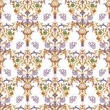 Flores decorativas com teste padrão do barocco em um fundo escuro imagens de stock royalty free