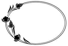 Flores decorativas del esquema blanco y negro del marco Fotografía de archivo