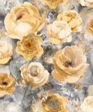 Flores decorativas del oro monocromático de la acuarela en un fondo oscuro - un modelo grande para el papel pintado libre illustration