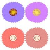 Flores decorativas visión superior, elementos del aster del diseño stock de ilustración