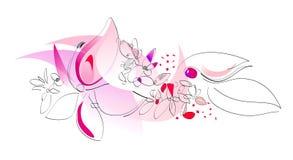 Flores del bosquejo en color de rosa, rojo y púrpura Foto de archivo