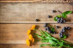 Flores del Calendula y bayas del aronia y x28; chokeberry& negro x29; en fondo de madera en estilo rústico Imagen de archivo