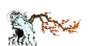 Flores del ciruelo y pintura de piedra de la tinta libre illustration