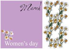 Flores del día de las mujeres de la tarjeta Fotos de archivo libres de regalías