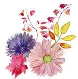 Flores del ejemplo de la acuarela en fondo simple Foto de archivo