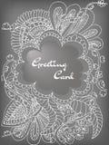 Flores del garabato de la tarjeta de felicitación Imagenes de archivo