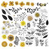 Flores del garabato en amarillo y negro libre illustration