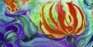 Flores del gloriosis con las hojas y los brotes - dibujo en la seda batik Flor asiática, africana Utilice los materiales impresos Foto de archivo