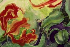 Flores del gloriosis con las hojas y los brotes - dibujo en la seda batik Flor asiática, africana Utilice los materiales impresos Fotografía de archivo