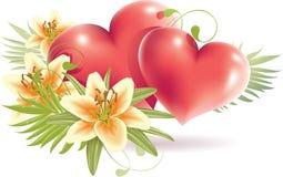 Flores del lirio con el corazón rojo Imagen de archivo