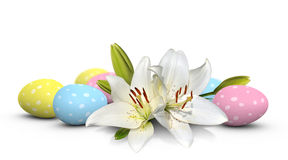 Flores del lirio de pascua y huevos en colores pastel pintados con los puntos Imágenes de archivo libres de regalías