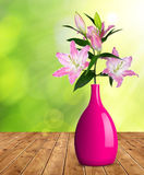 Flores del lirio en el florero Foto de archivo libre de regalías