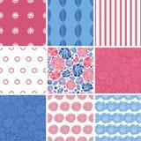 Flores del mosaico del vector fijadas de nueve que hacen juego Imagen de archivo libre de regalías
