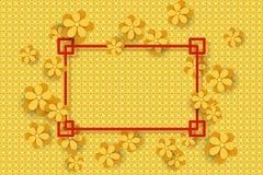 Flores del oro en el backgroune y el marco de oro para el texto Diseño por Año Nuevo chino stock de ilustración
