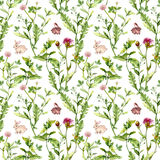 Flores del prado, conejos minúsculos Modelo inconsútil watercolor Fotos de archivo libres de regalías