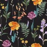 Flores del prado, hierba, hierbas del jardín, tulipanes, helecho lirios Fondo herbario inconsútil en colores brillantes en fondo  libre illustration