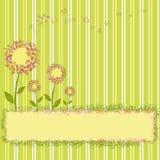 Flores del resorte en fondo amarillo verde de la raya
