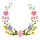 Flores del vector fijadas Guirnalda hermosa Colección floral elegante con las hojas y las flores aisladas, mano dibujada Diseño p Imagen de archivo