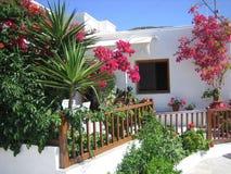 Flores delante de la casa griega Fotos de archivo libres de regalías