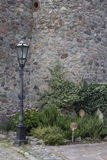 Flores delante del edificio histórico Imagen de archivo libre de regalías