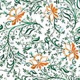 Flores delicadas a céu aberto e folhas com ondas e videiras do ornamento sem emenda do teste padrão alaranjadas e verdes ilustração stock
