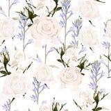 Flores delicadas de las rosas blancas del modelo y flores violetas Diseño para el paño, papel pintado, envoltorio para regalos stock de ilustración