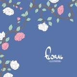 Flores delicadas en un fondo blanco azul Imagen de archivo