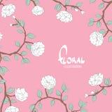 Flores delicadas en un fondo blanco rosado Imágenes de archivo libres de regalías