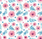 Flores delicadas rosadas de la acuarela, Dots And Leaves Seamless Pattern Imágenes de archivo libres de regalías