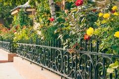 Flores detrás de una cerca delante de la casa Imagenes de archivo