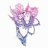 Flores dibujadas mano colorida doodling Zentangle ilustración del vector
