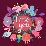 Flores dibujadas mano con amor usted letras Fotografía de archivo libre de regalías