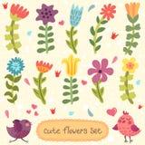 Flores dibujadas mano linda fijadas Fotografía de archivo libre de regalías