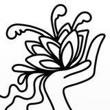 Flores a disposición en blanco y negro Fotos de archivo libres de regalías