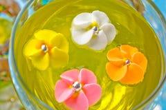 Flores do açúcar em um vidro com geléia Fotografia de Stock Royalty Free
