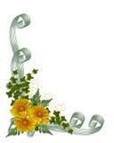 Flores do amarelo do convite do casamento Imagem de Stock Royalty Free