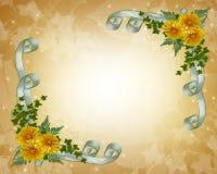 Flores do amarelo do convite do casamento Imagens de Stock Royalty Free